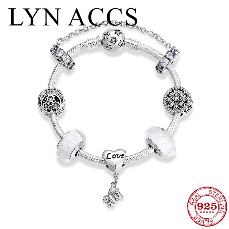 Good night starry sky 925 Sterling Silver Bracelets for Women Glass Bead Crystal Beads Snake Chain couple Bracelets Jewelry Gift