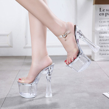 18CM High Heel Sandals Platform Shoes Woman Size 43 New Summer Transparent Sandals Women Crystal Shoes Female Sexy Sandals Heels image