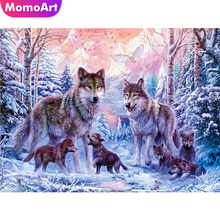 MomoArt Diamond Painting Winter Mosaic Wolf Embroidery Full Drill Square/round Cross Stitch Animal