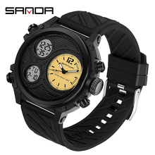 Mens Watch SANDA Digital Water-Resistant Military Army Relogio for Male Masculino LED