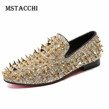 MStacchi Rivet Low Heel Buty Damskie Sequin Cloth Not Tied Shoes  Autumn Sexy Comfortable Casual Shoes Women Plus Size 34-46