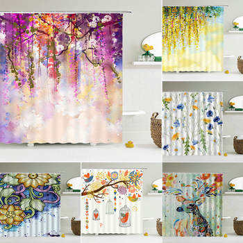 Flowers Plant Fresh Pattern Shower Curtains Waterproof Fabric Bathroom Decor Shower Curtain Multiple Size 240X180 Bath Screen image