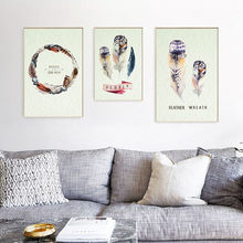 Creative Fashion Watercolor Simple Garland Colorful Feather Poster Hd A4 Art Print Stylish Wall Painting Nordic Canvas Painting(China)