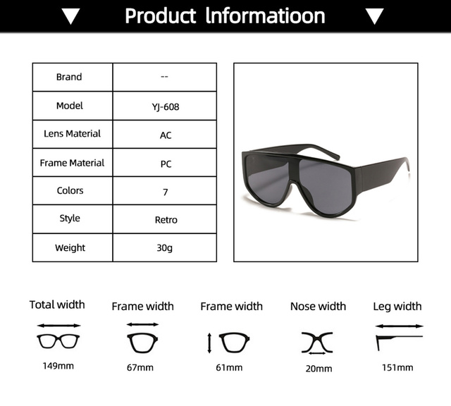 новейшие трендовые цельные солнцезащитные очки большого размера фотография