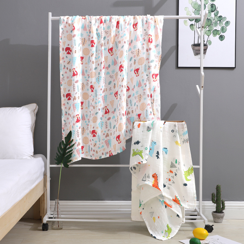 Summer Double Gauze Baby Bath Towel Soft Cartoon Printing Cart Cover Blanket Newborn Wrap Towel