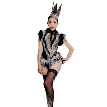 Sparkly Rhinestones Black White Feather Mesh Bodysuit Leggings Nightclub Women Stage Performance Outfits Birthday Party Wear