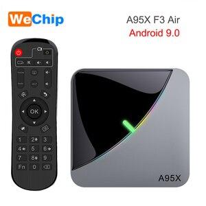 Image 1 - A95XF3 4GB 64GB 32GB RGB אור חכם טלוויזיה תיבת 2G 16G אנדרואיד 9.0 A95X F3 אוויר Amlogic S905X3 Wifi אלחוטי HD Ott מדיה נגן