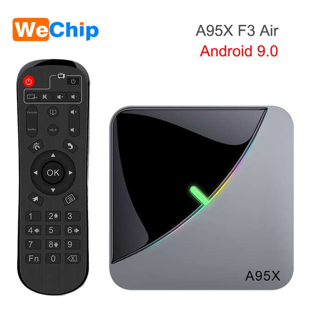 A95XF3 4GB 64GB 32GB RGB אור חכם טלוויזיה תיבת 2G 16G אנדרואיד 9.0 A95X F3 אוויר Amlogic S905X3 Wifi אלחוטי HD Ott מדיה נגן