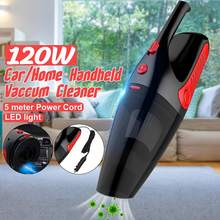 Cordless Car Vacuum Cleaner with LED Light 12V 120W Mini Auto Home Dua
