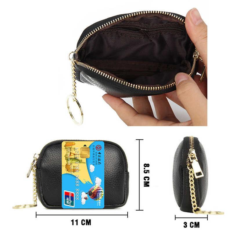 Yeni marka kadınlar bozuk para cüzdanı yumuşak hakiki deri kartlık fermuarlı bozuk para cüzdanı anahtarlık tutucu cüzdan erkek Mini kılıfı saklama çantası