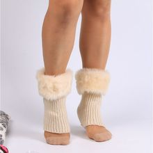 Socks Gaiters Leg-Warmers Plush-Boot-Cuff Crochet Knitted Thicken Winter Solid-Color