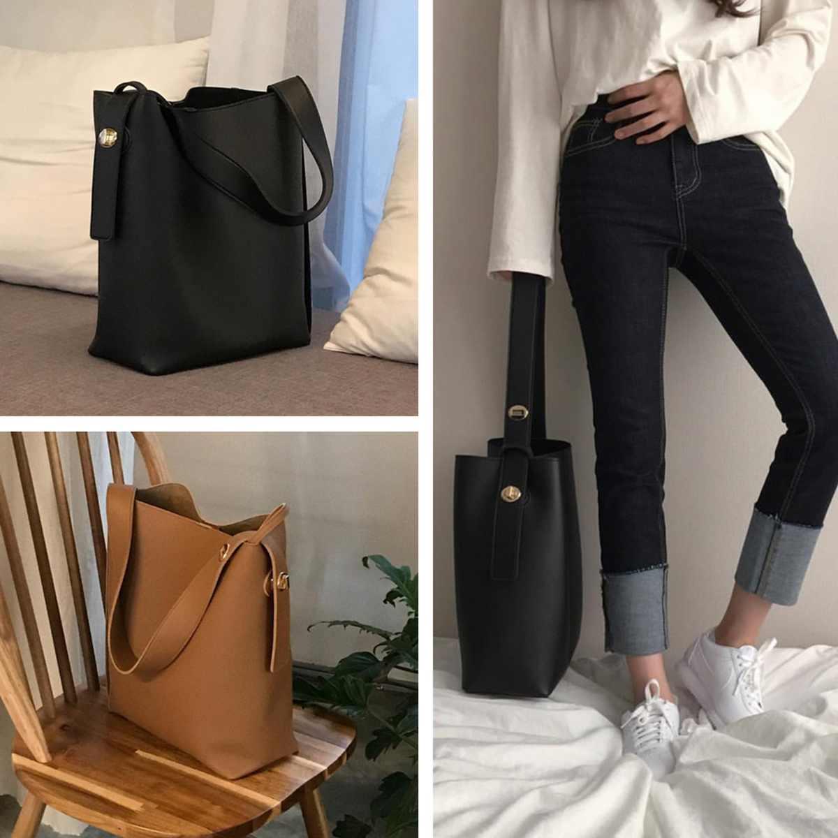 Fashion All-match Bucket Bag Korean Simple Style PU Leather Single Shoulder Women's Handbags Female Bag Casual Black/Light Brown