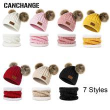 Комплект из 2 предметов, шапка и шарф, шапка и дымоход, теплая детская вязаная шапка для мальчиков и девочек, шапка и шарф, зимние аксессуары, шапочка, Skullies Gorro, для детей 0-3 лет