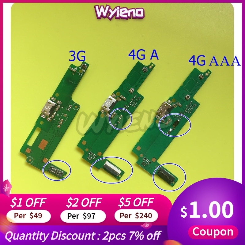 Wyieno For Huawei Y3-2 Y3 2 3G / 4G Micro USB Charger Y3ii Y3-ii Charging Port Connector Flex Cable Mic Microphone +tracking