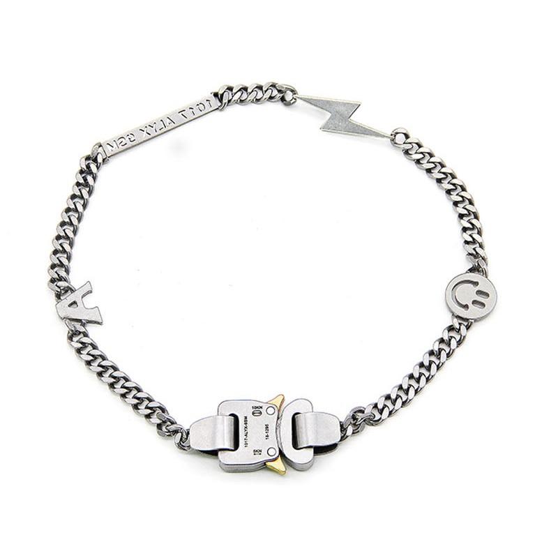 High Street ALYX Necklace Hip Hop Smiley Pearl ALYX Accessories Titanium Steel Metal ALYX Hero Chain Necklace