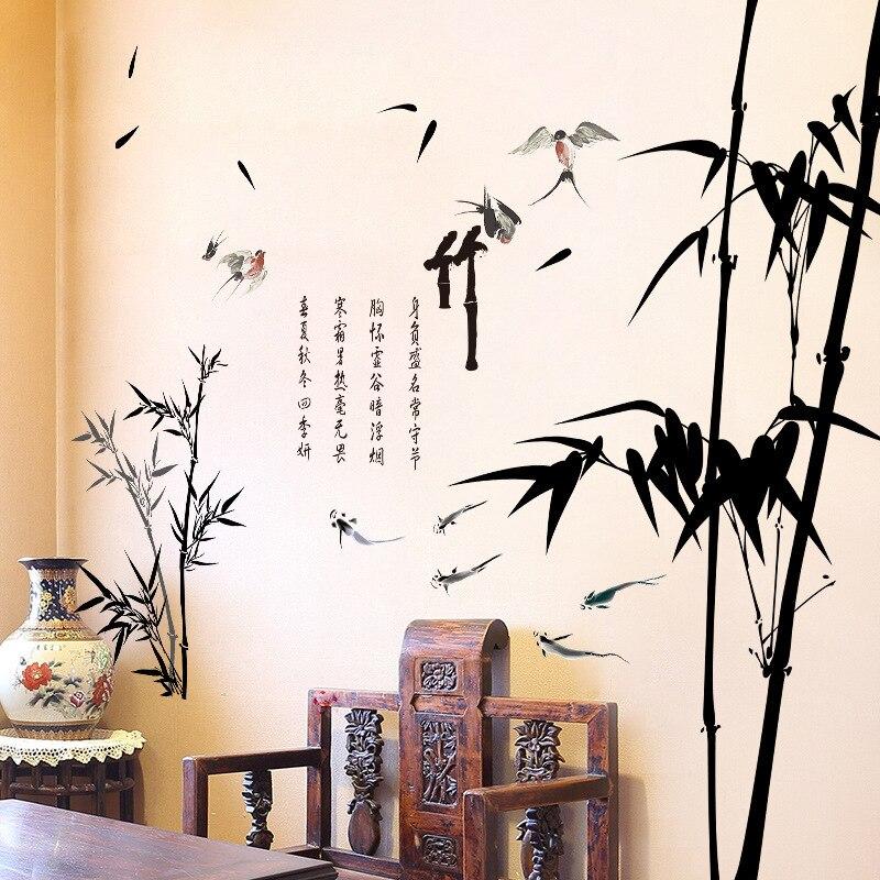 Виниловые бамбуковые наклейки на стену в китайском стиле, украшение для спальни, гостиной, эстетическое домашнее и офисное украшение, накле...