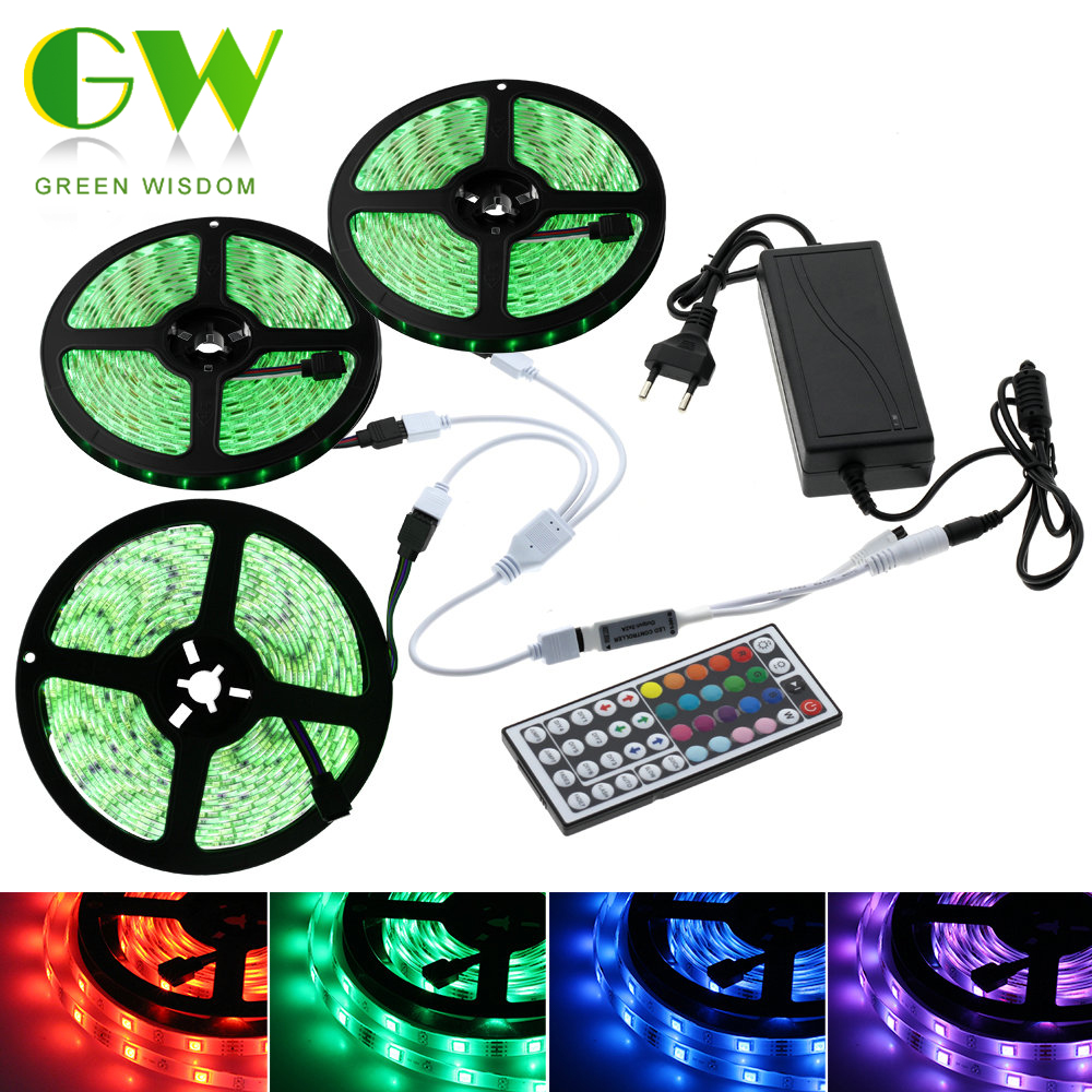 LED Strip Light RGB 5050 SMD Flexible Ribbon Neon LED Diode Tape 5M 10M 15M Fita LED Light Strip 12V+Remote Control+Adapter Plug