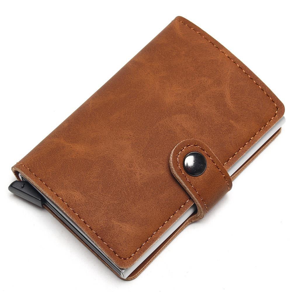 2021 кредитной держатель для карт бумажник Для мужчин Металл RFID Винтаж алюминиевый Crazy Horse кожаный держатель для банковской карты чехол с Коше...