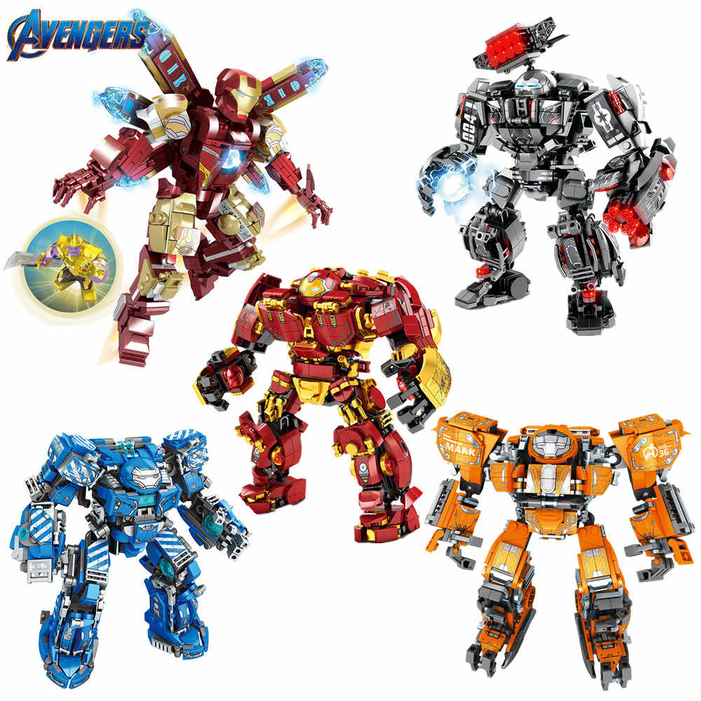 2019 Marvel Avengers Super Heroes Iron Man Hulkbuster MK36  MK85 Mech Armor Figures Building Blocks Bricks Kits Toys Gift
