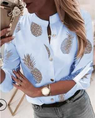 เสื้อผู้หญิงเสื้อ Ananas สีขาวยาวเสื้อ \ \ \ \ \ \ \ \ \ \ \ \ \ \ \ \ \'s เสื้อ 2019 ผู้หญิงเสื้อและเสื้อด้านบนหญิงฤดูใบไม้ร่วงใหม่ PLUS ขนาด 5XL