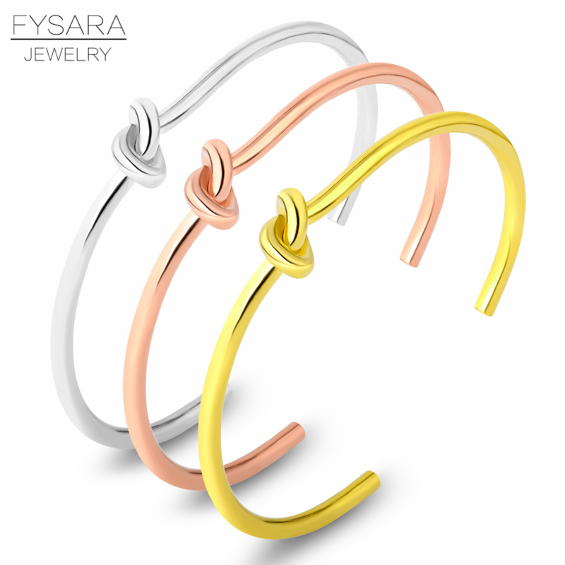 Love Twist Titanium Jewelry Bangle Stainless Steel Knot Cuff Bow-knot Bracelet