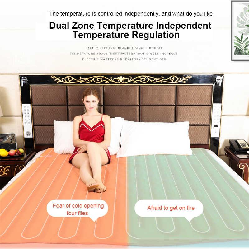 220v koc elektryczny z termostatem Double Body miękka flanelowa ciepła podgrzewana koce sypialnia Manta zimowa poduszka elektryczna
