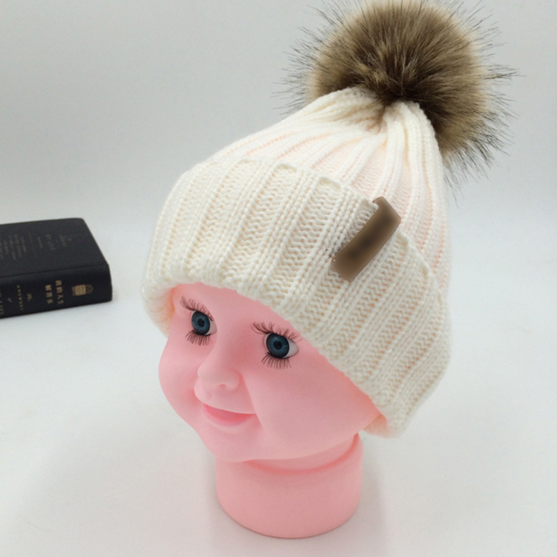 Parent Child Winter Hats Kids Pompom Fur Knitted Beanie Caps