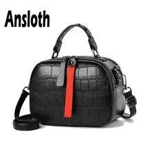Ansloth Crocodile Pattern Shoulder Bag Women Rivet Handbag Lady Hit Color Crossbody Quilted Hand Female Mini HPS638