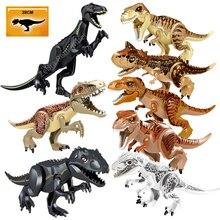 تماثيل الديناصورات في العالم الجوراسي ، مجسمات طابوق التيرانوصور Indominus Rex I Rex ، مكعبات بناء لعبة للأطفال