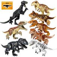 Dinossauros do mundo jurássico figuras tijolos tyrannosaurus indominus rex i-rex montar blocos de construção brinquedo do miúdo dinosear