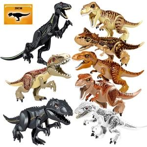 Image 1 - ジュラ紀世界恐竜フィギュアレンガティラノサウルスindominus rex i rex組み立てるビルディングブロック子供のおもちゃdinosuar