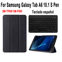 Spanish Keyboard Case For Samsung Galaxy Tab A A6 10.1 2016 with S Pen SM P580 SM P585 P580 P585 Smart Cover Detach Keyboard