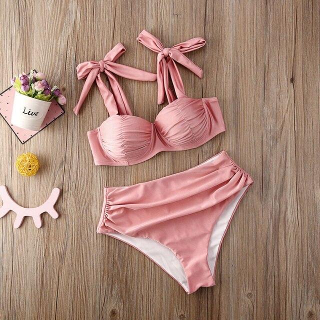2020 New Womens Padded Bra Push-up Swimwear Bikini Set High Waisted Swimsuit Bathing Swimming Costume