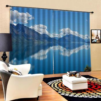 blue curtains 3D Curtain Luxury Blackout Window Curtain Living Room lake sky curtains Decoration curtains
