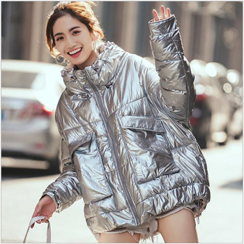 Silver Glossy Jacket Coat Women Winter Warm Cotton Padded female Parkas Autumn Fashion loose short Student coat Outwear Z160 фото