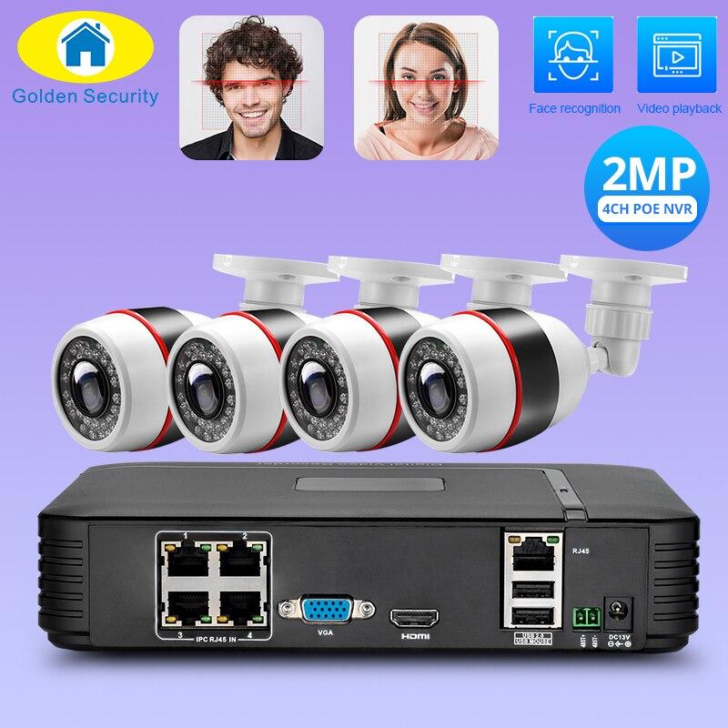 Reconnaissance de visage Full HD 1080P 4CH NVR système de vidéosurveillance 2MP FHD caméra IP extérieure 4CH 1080P PoE Kit de caméra de sécurité HDMI VGA P2P