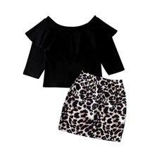 2PCS Toddler Kids Baby Girl Outfits Clothes Sets Off Shoulder Tops T-shirt+Leopard Print Mini Skirts Set