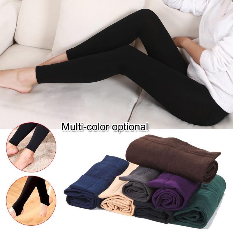 Women Heat Fleece Winter Stretchy Leggings Warm Fleece Lined Slim Thermal Pants LF88