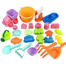 2020 New 26Pcs/set Soft Rubber Beach Sand Toys Bucket Playset Outdoor Summer Toy for Kids