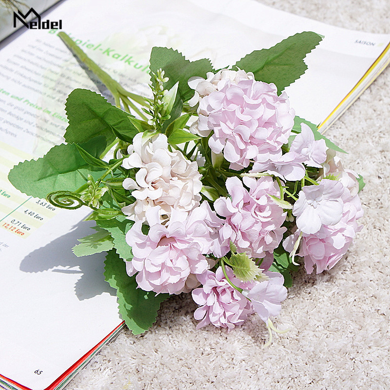 Meldel Wedding Flower Bouquet Fake Silk Lucky Ball Artificial Flower Small Faux Flowers Craft Home Party Decor Artificial Flores