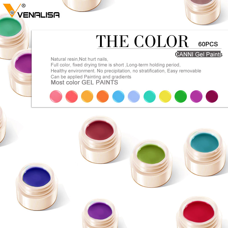 Venalisa UV Gel New 2019 Nail Art Tips Design Manicure 60 Color UV LED Soak Off DIY Paint Gel Ink UV Gel Nail Polishes Lacquer 5
