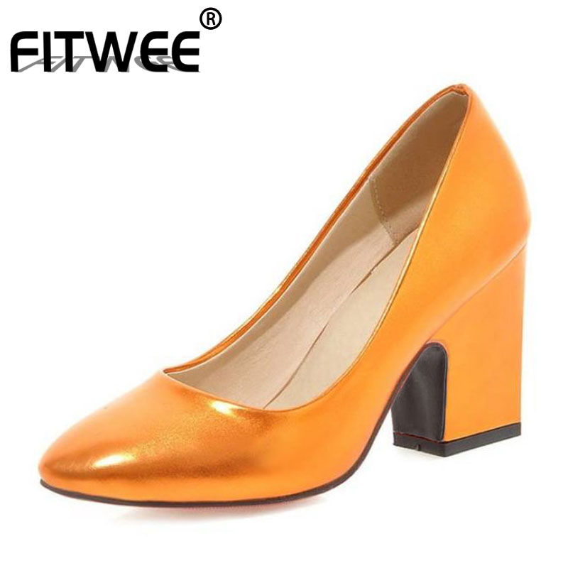 FITWEE Women Pumps Shoes Colorful Thick Square Heel Patent Leather Glitter Shoes Fashion Ladies Footwear Solid Size 33-43
