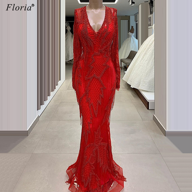 Plus Größe Rot Glitter Abendkleider 2020 Lange Muslimischen Robe De Soiree Formelle Wunderschöne Pageant Prom Kleid Party Roter Teppich kleider