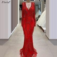Plus Size Red Muslim Beading Evening Dresses 2020 Long Mermaid Dubai Prom Dresses With Tassels Arabic Women Vestidos De Festa