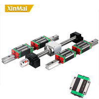 2 linear guide rails 15mm HGR15 hgh15ca hgw15ca +1 sfu1605 ball screw nut housing any length+ support BK/BF12+couplers for CNC