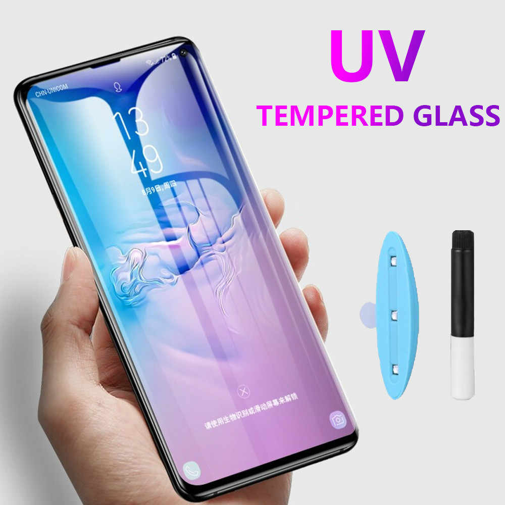 UV Full Glue Tempered Glass for Samsung S8 S9 S10 Plus S10E Lite Screen Protector for Galaxy Note 10 pro 8 9 S7 Edge UV liquid