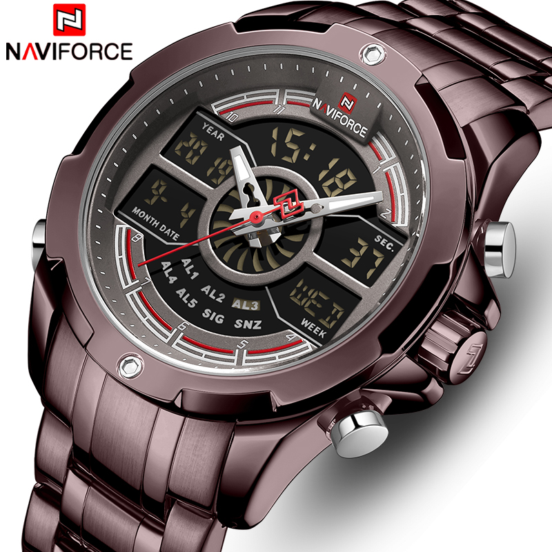 NAVIFORCE Mens Quartz Watches Digital Chronograph Sport Men WristWatch Military Luxury Waterproof Clock Male Relogios Masculinos