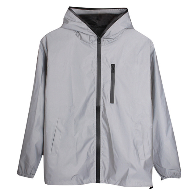 Spring Jacket Men Long Sleeved Reflective Men Harajuku Windbreaker Jackets Hooded Hip-hop Streetwear Night Shiny Zipper Coats