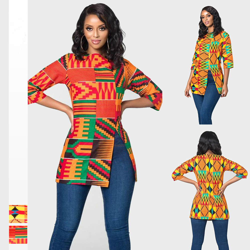 2019 New Arrival Summer Sexy Fashion Style African Women Printing Plus Size T-shirt S-3XL