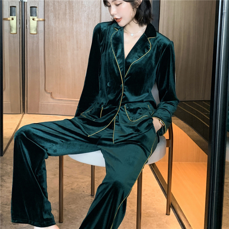 Autumn New Gold Velvet Women Pajamas  Long Sleeve Double Breasted Fashion Keeep Warm Pyjamas